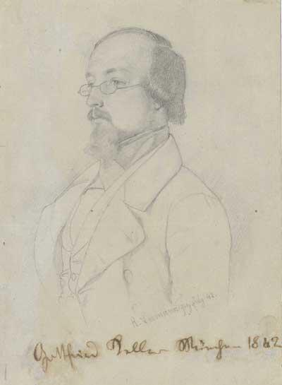 Gottfried Keller Bleistiftzeichnung