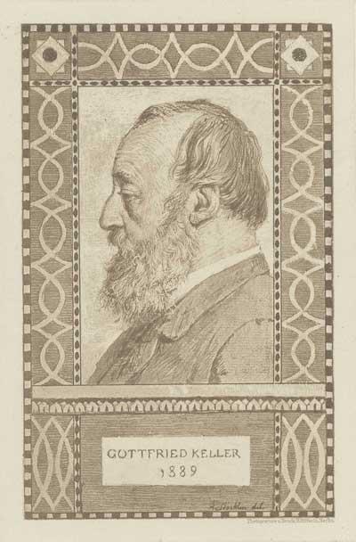 GKN 322a: Arnold Böcklin del., Photogravure und Druck H. Riffarth Porträtfrontispiz aus Gottfried Keller: Gesammelte Werke. -Berlin, Hertz, 1889, Bd. 9
